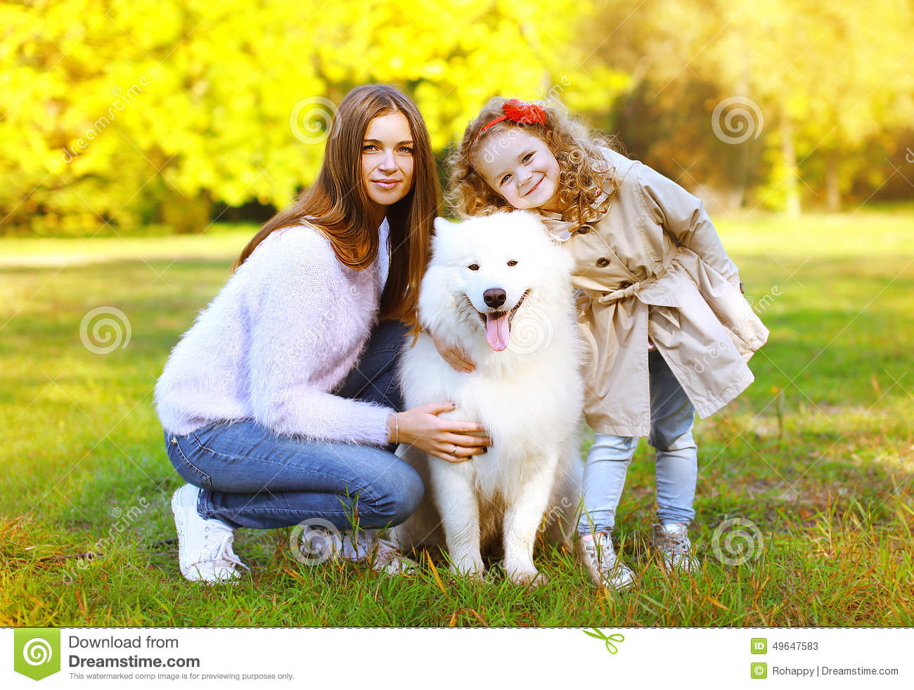 Happy Family Autumn, Portrait Pretty Young Mother And Child Walk ...