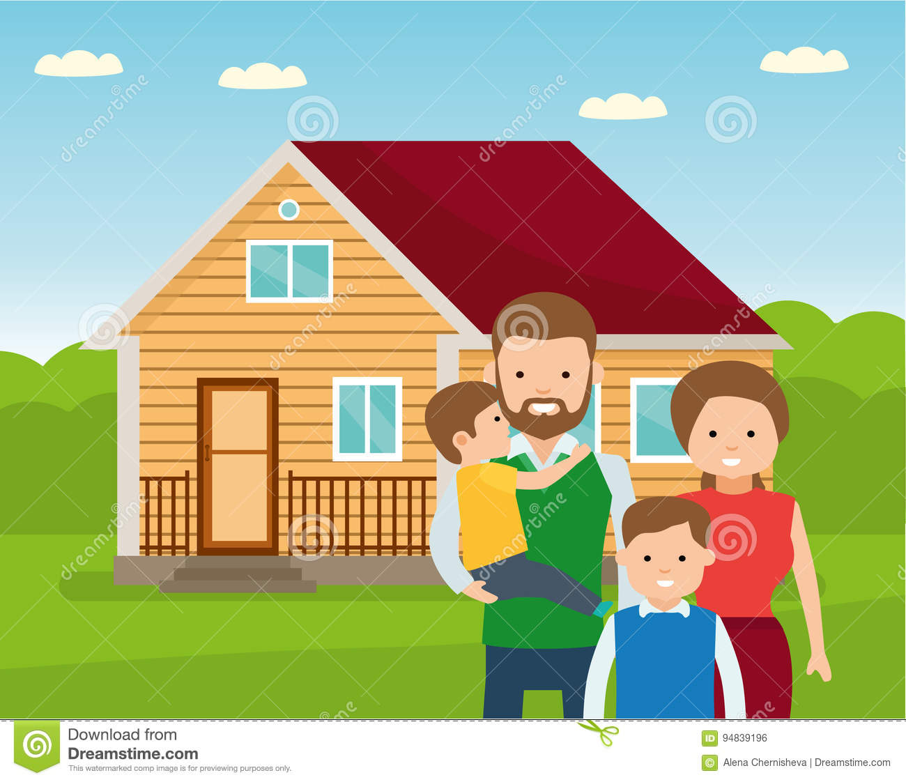 Happy Family In The Background Of His Home Father Mother And Two Son Together Outdoors Stock Vector Illustration Of Female Childhood 94839196