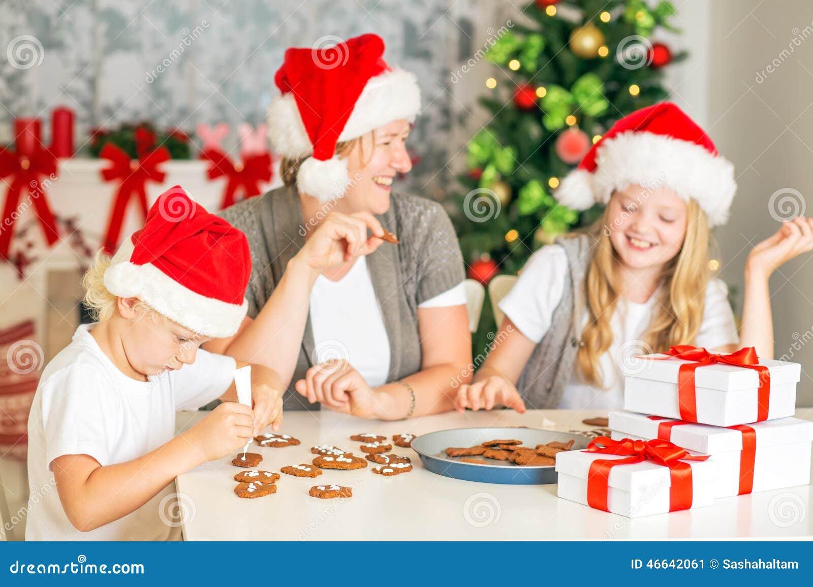 Happy Family Baking Christmas Cookies Stock Photo - Image: 46642061