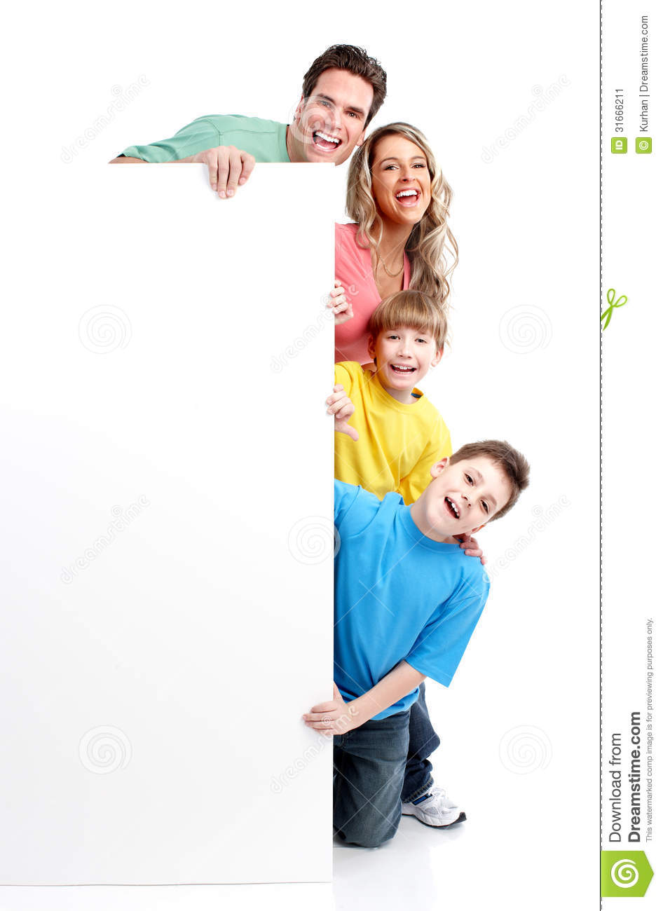Happy Family With Banner Stock Image Image 31666211