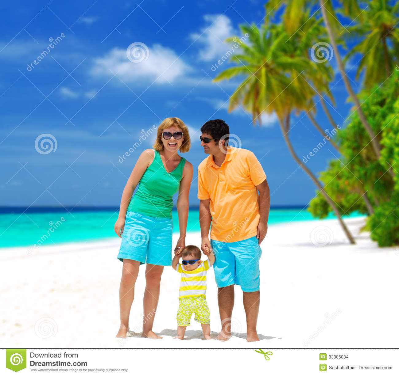Happy Family On The Beach Stock Photo. Image Of Mother