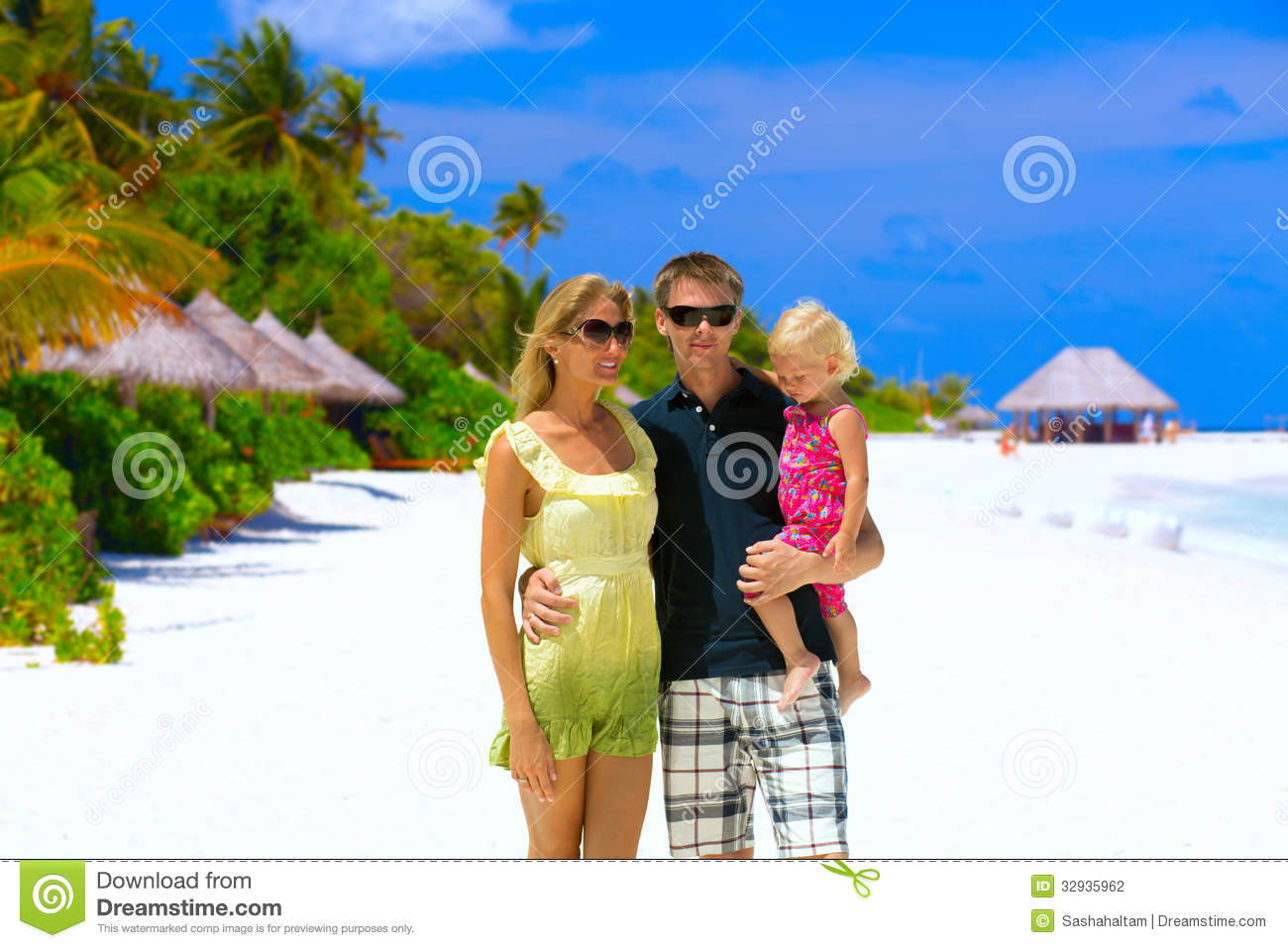 happy family the beach stock family with two children this