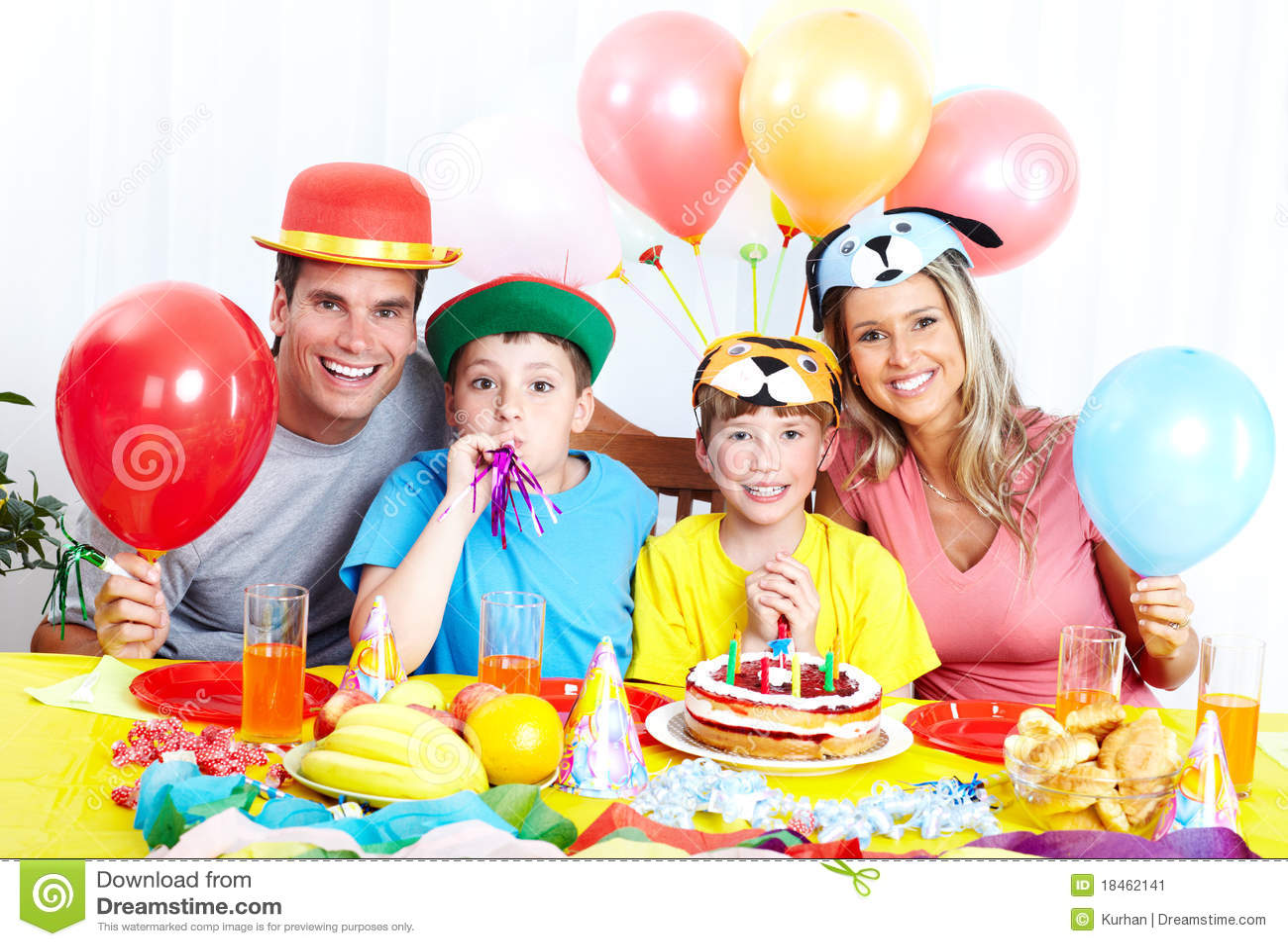 Happy family and birthday