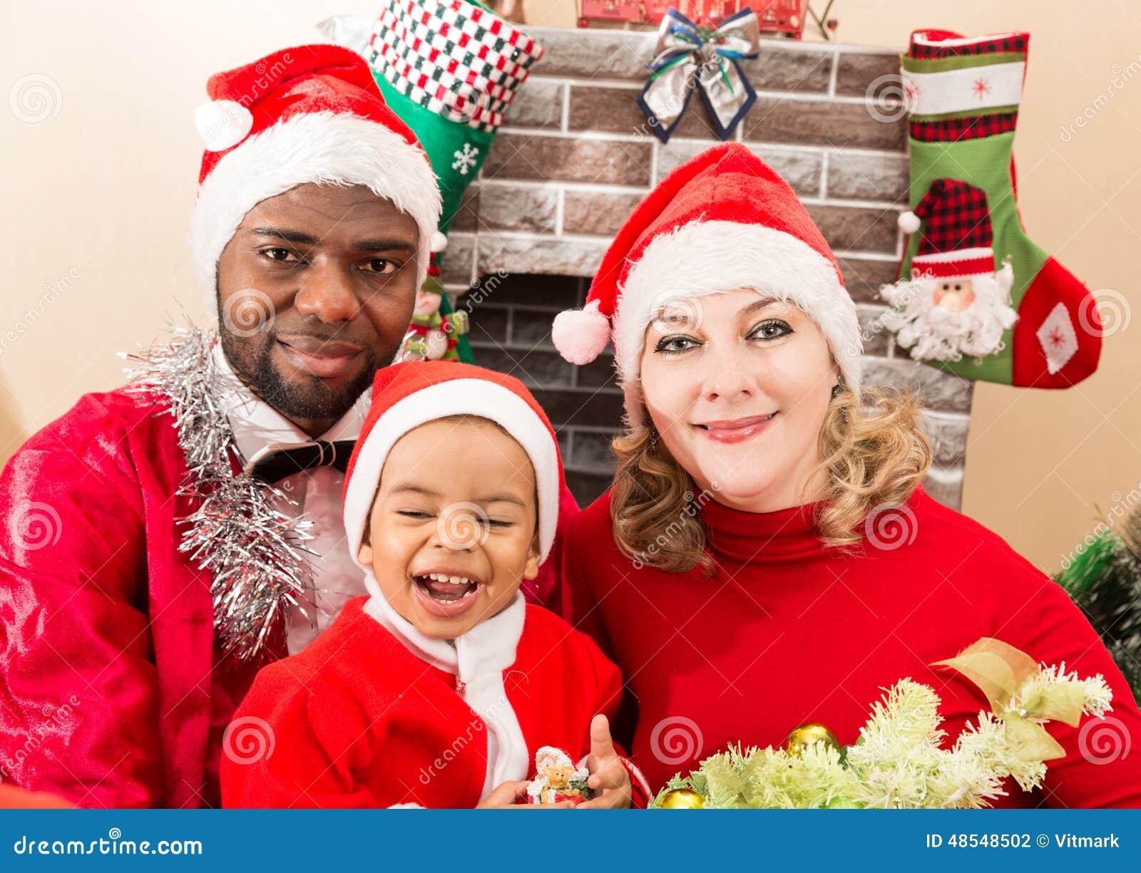 Black Family Christmas Portraits Happy Family: Black Fa...