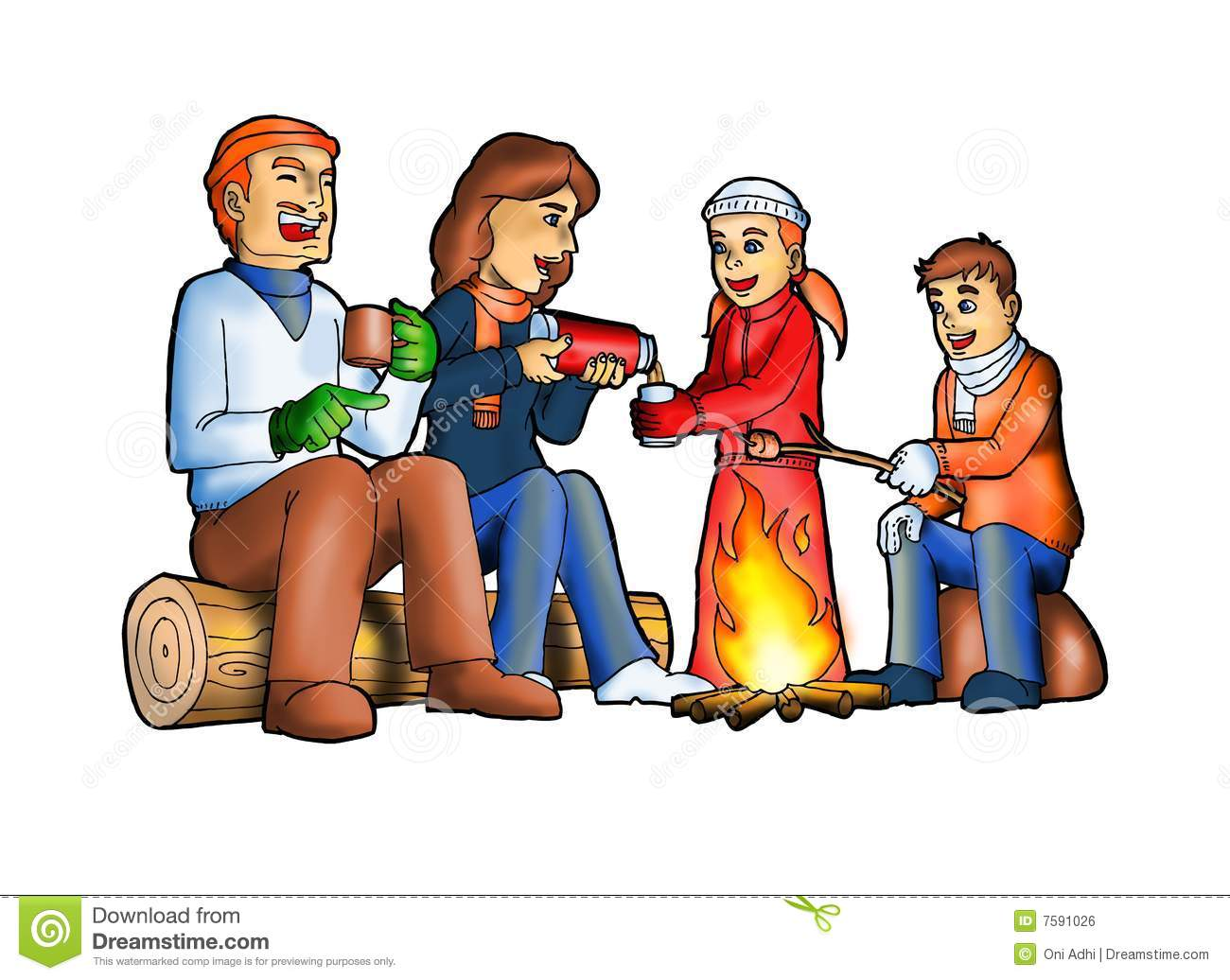 Happy Family Camping Stock Illustration Of Daughter