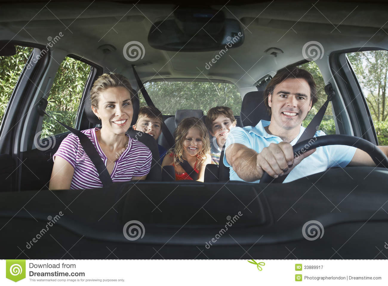 Royalty Free Stock Photography Happy Family Car Portrait Smiling Couple Three Children Image33889917 on man opening car door