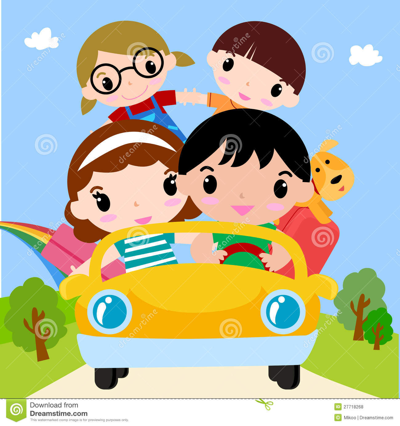 Download Happy Family In Car On Vacation Stock Vector