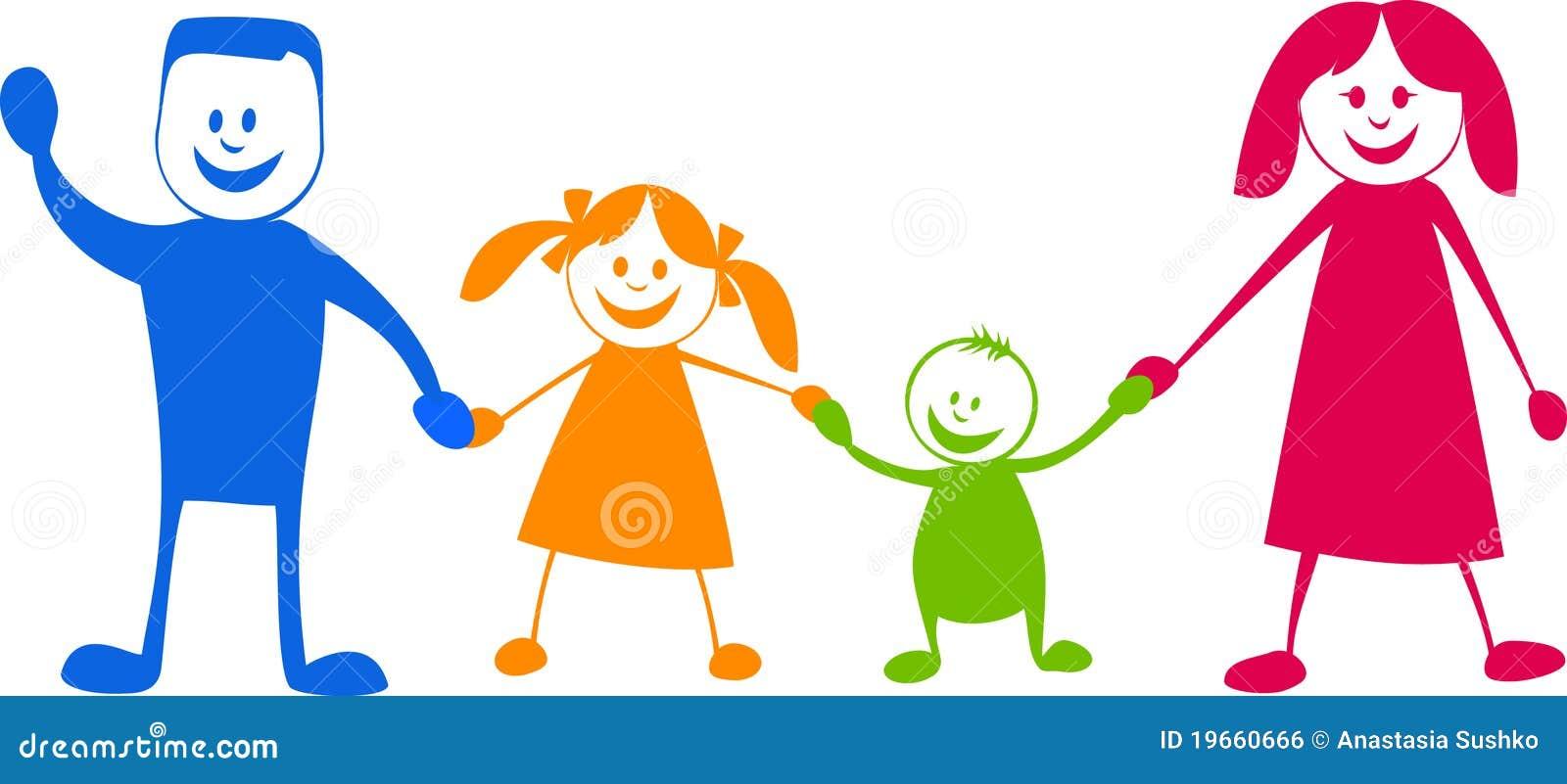 Happy Family. Cartoon Illustration Royalty Free Stock Image - Image ...