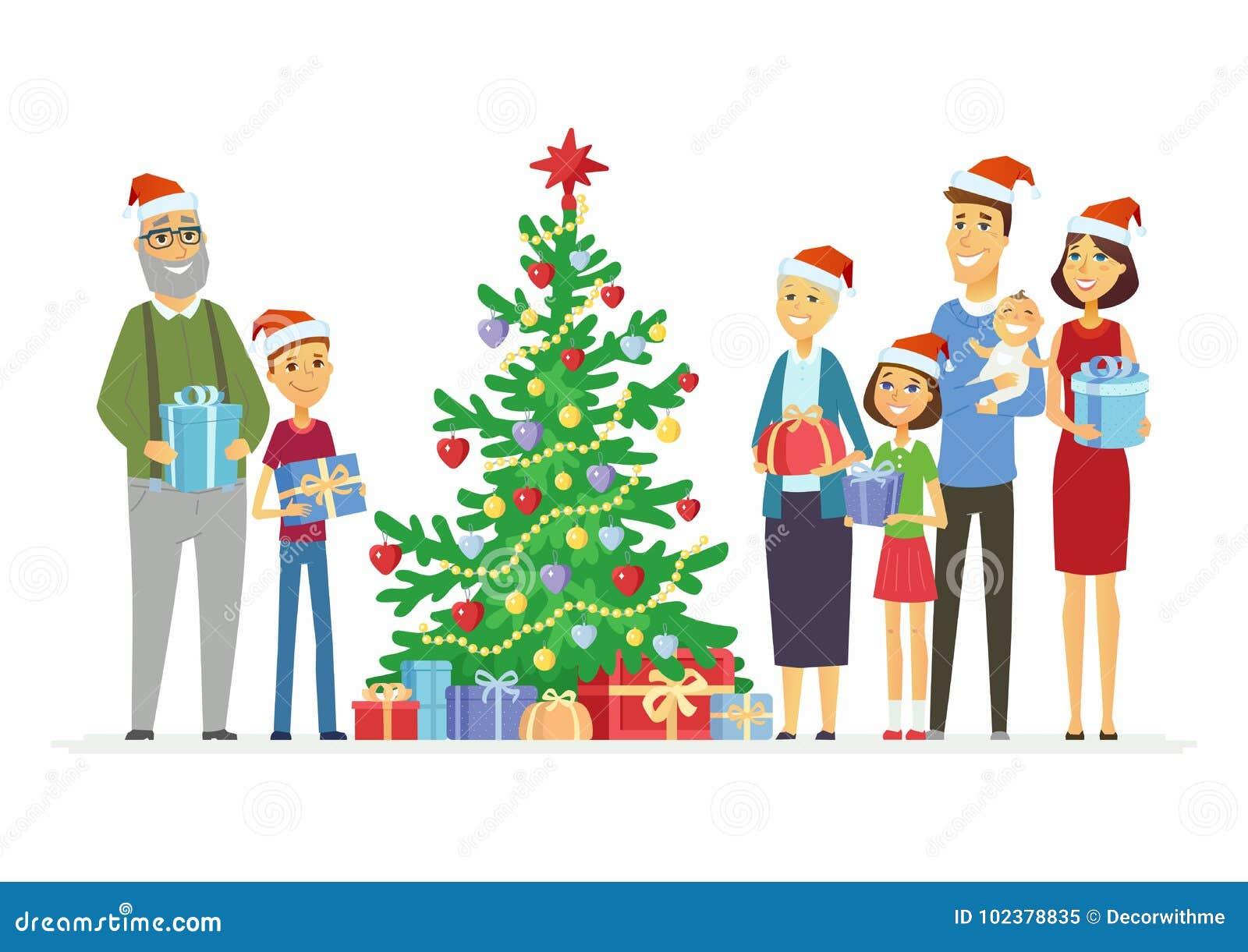 Mother Christmas Cartoon.Happy Family Celebrates Christmas Cartoon People