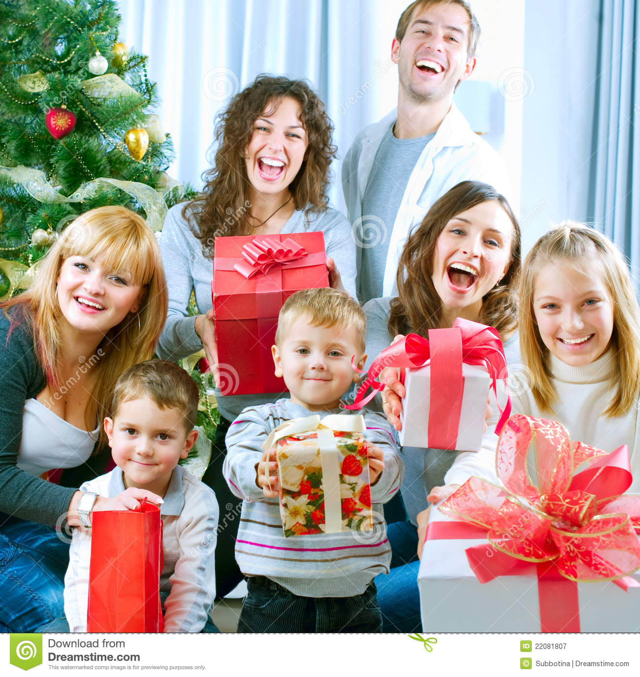 Happy Family Celebrating Christmas.gifts Stock Photo 22081807 - Megapixl