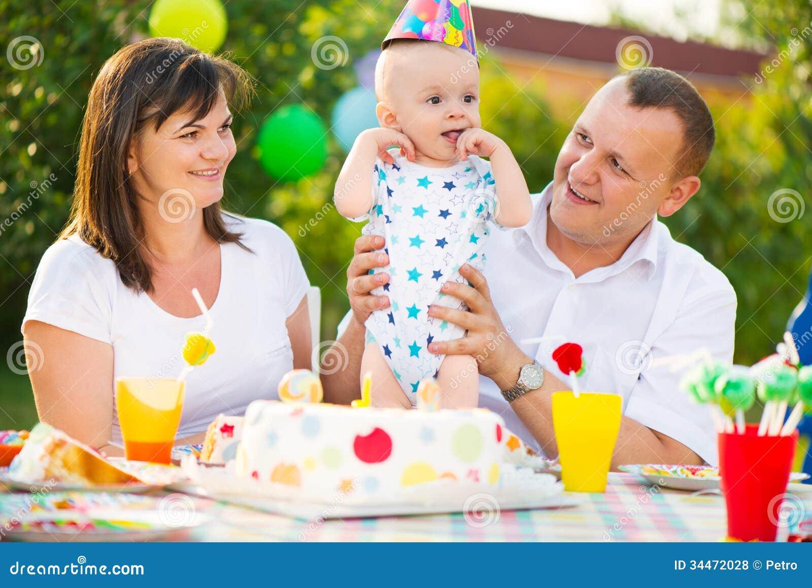 Royalty Free Stock Photos: Happy family celebrating first birthday of ...