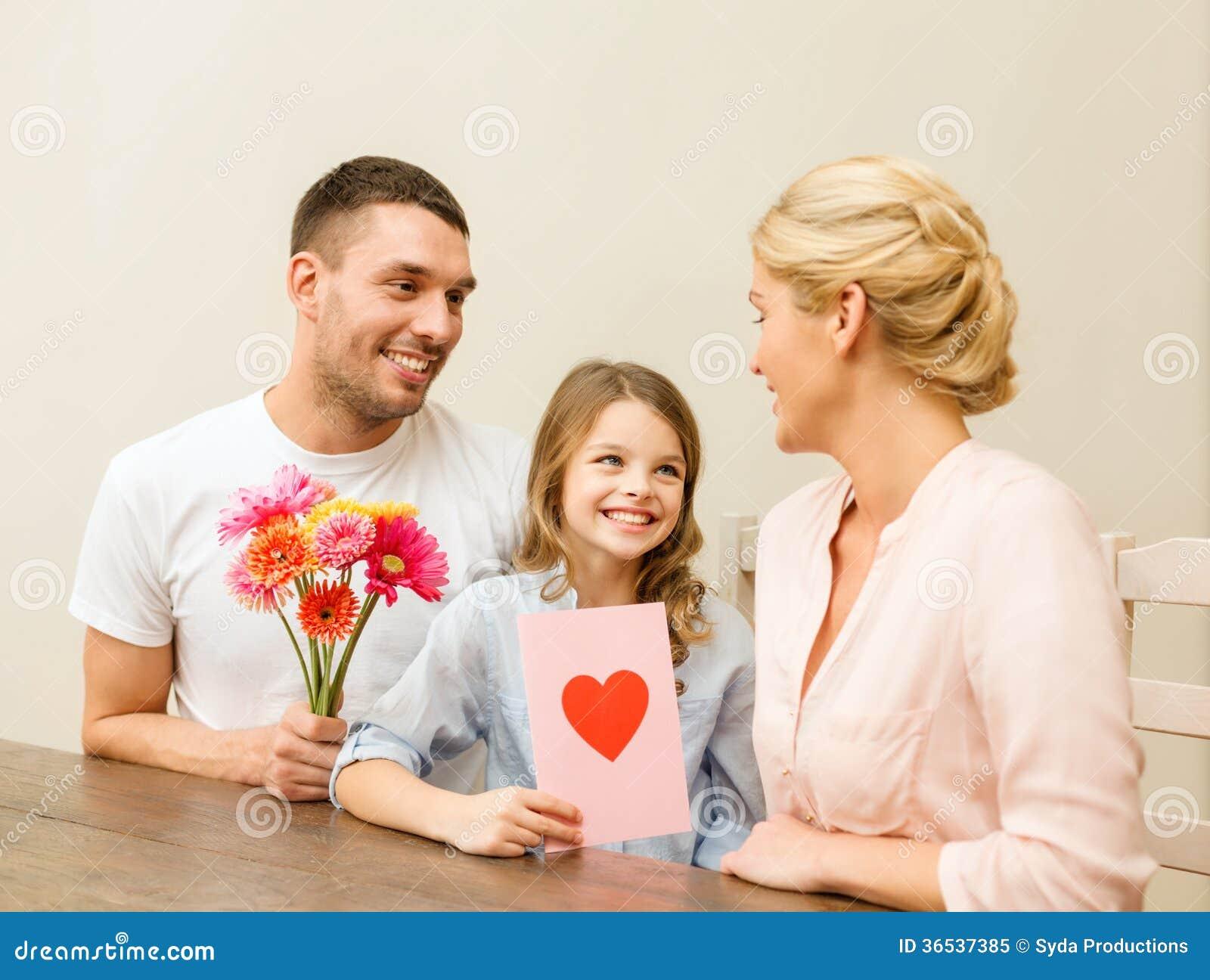 Happy Family Celebrating Mothers Day Stock Image Image