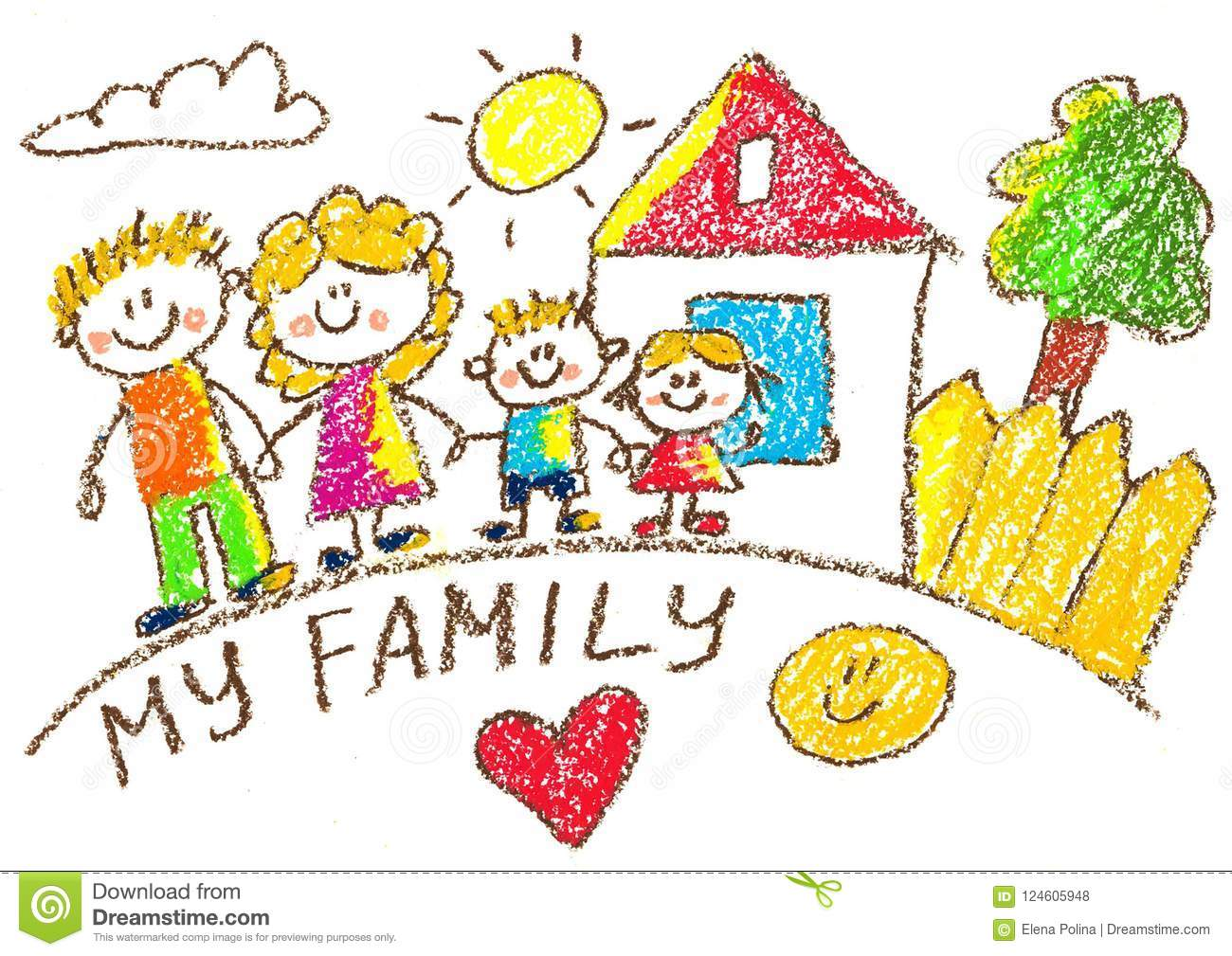 Happy Family With Children. Mother, Father, Sister ...