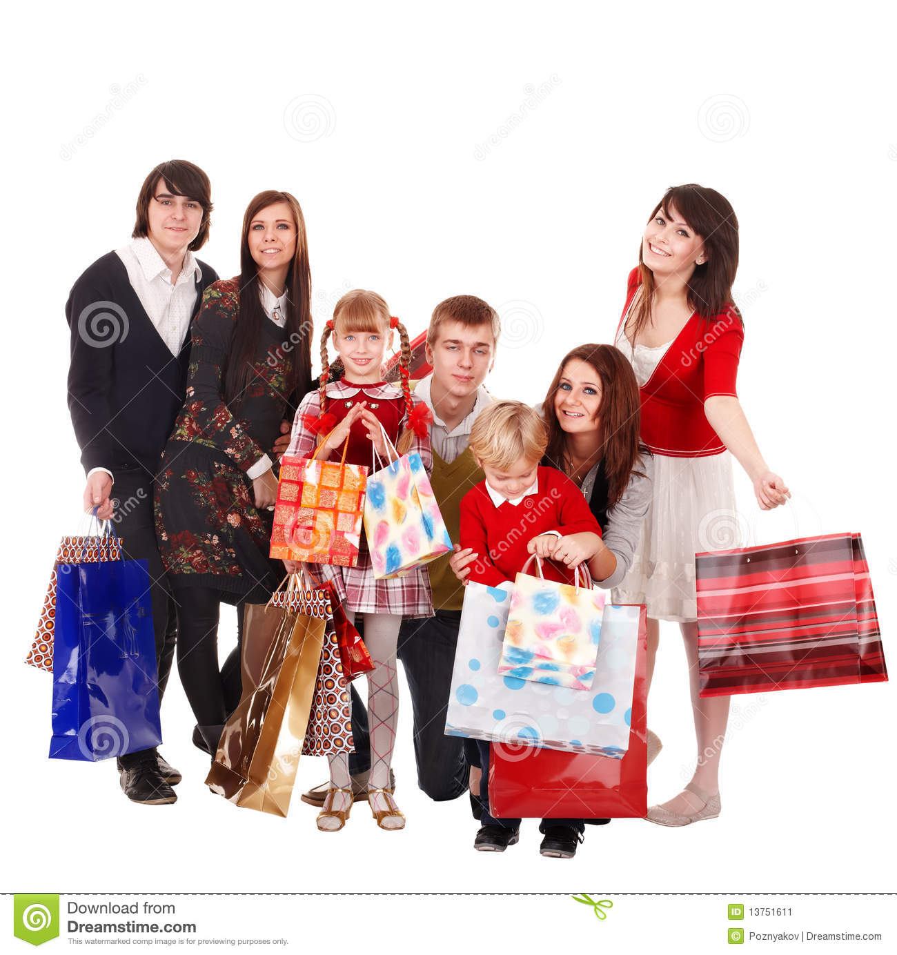 Happy Family Children Shopping Bag Stock Photos, Images ...