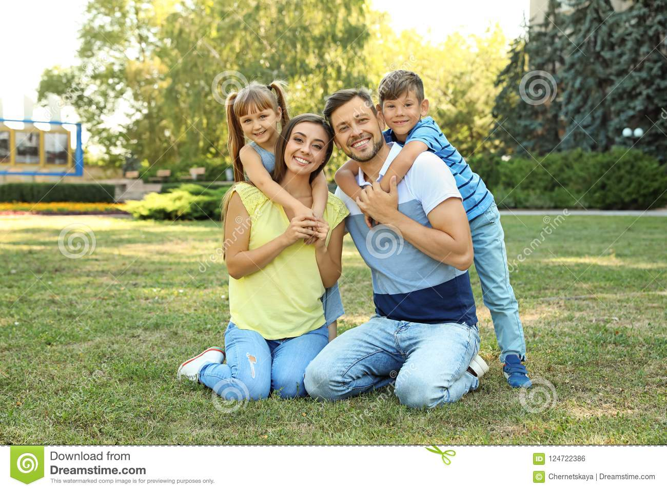Happy family with children spending time together