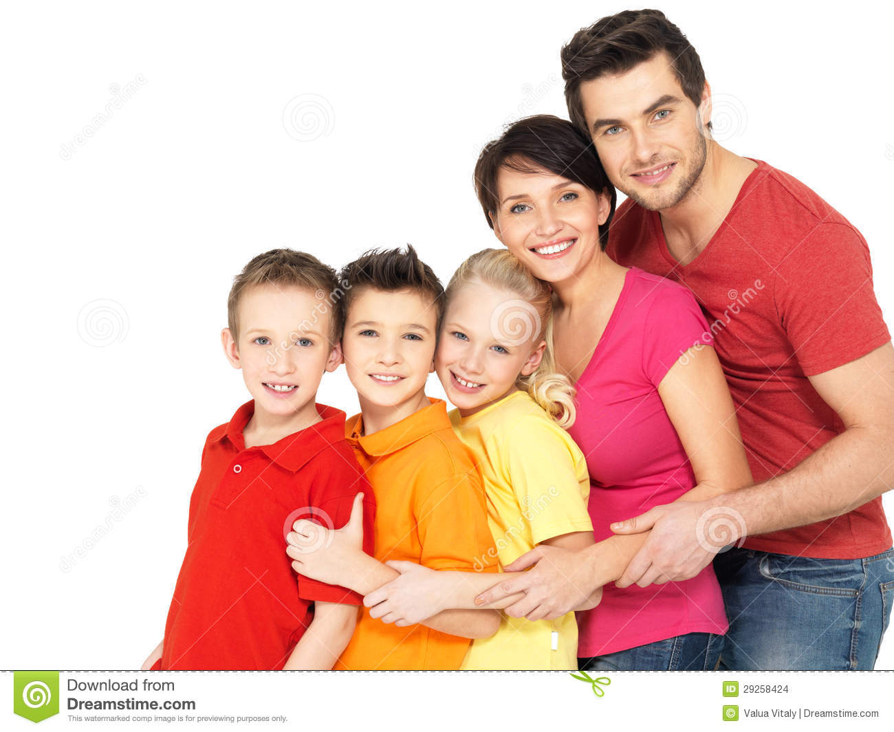 Happy family with children standing together in line stock images image 29258424 - Houses for families withchild ...
