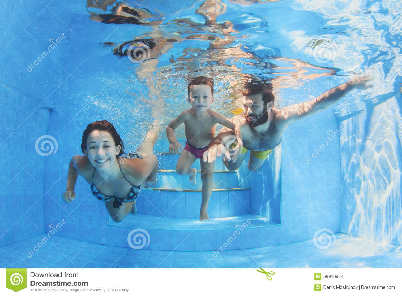 Happy Family With Children Swimming With Fun In Pool Stock ...