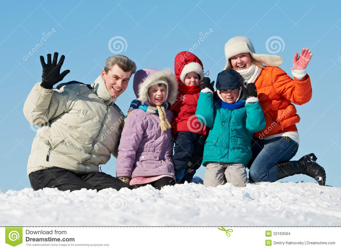 Happy family with children in winter stock photo image for Warm winter family vacations
