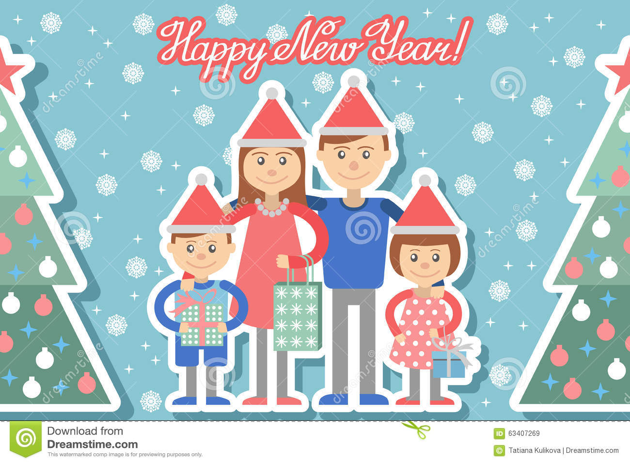 Happy Family With Christmas Gifts In Hands. Stock Vector ...