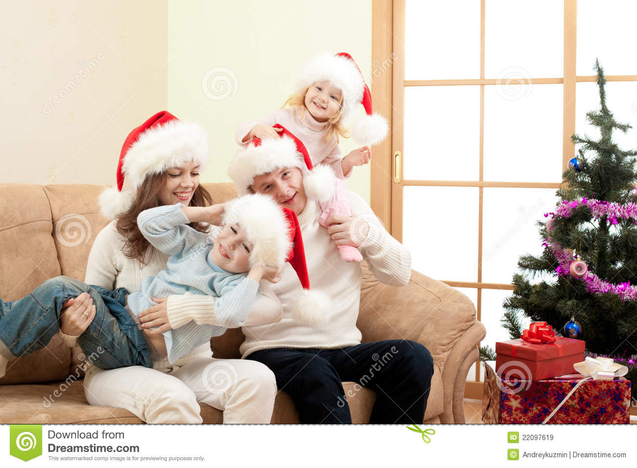 Family Christmas Photo Happy Family On Christmas In Living Room Royalty Free Stock Images
