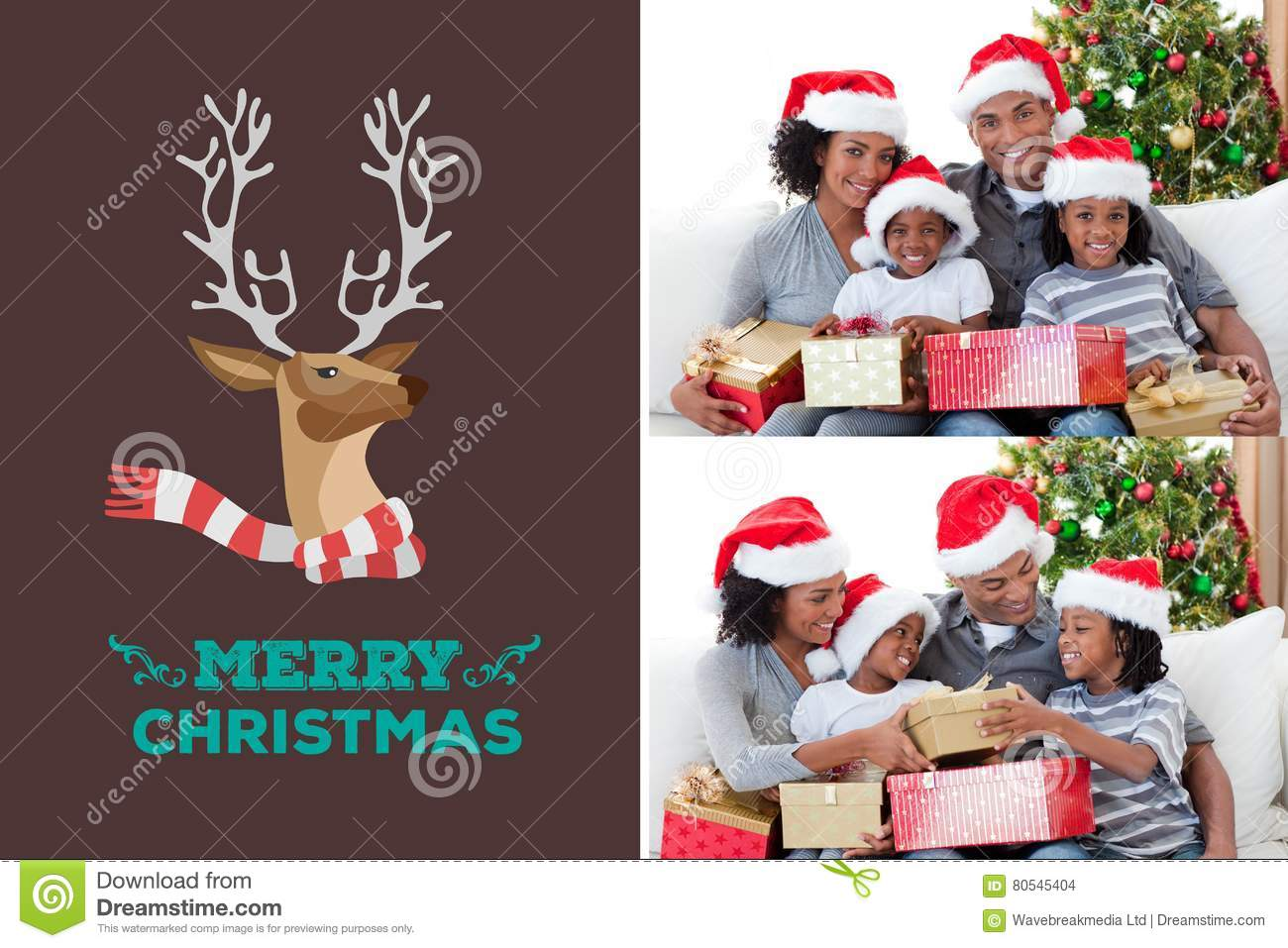 Happy Family And Christmas Message Design Stock Photo - Image of ...