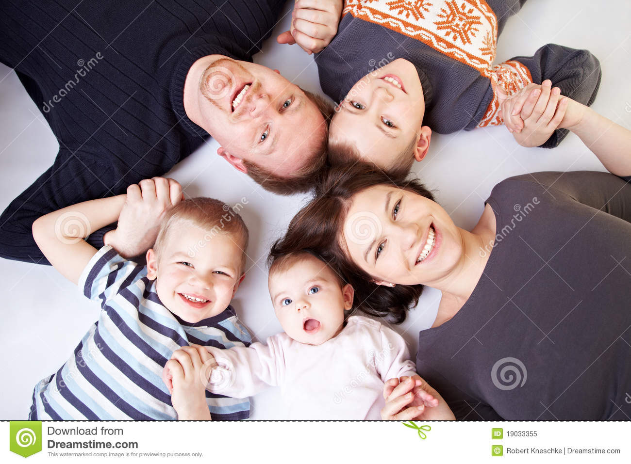 Happy family in a circle