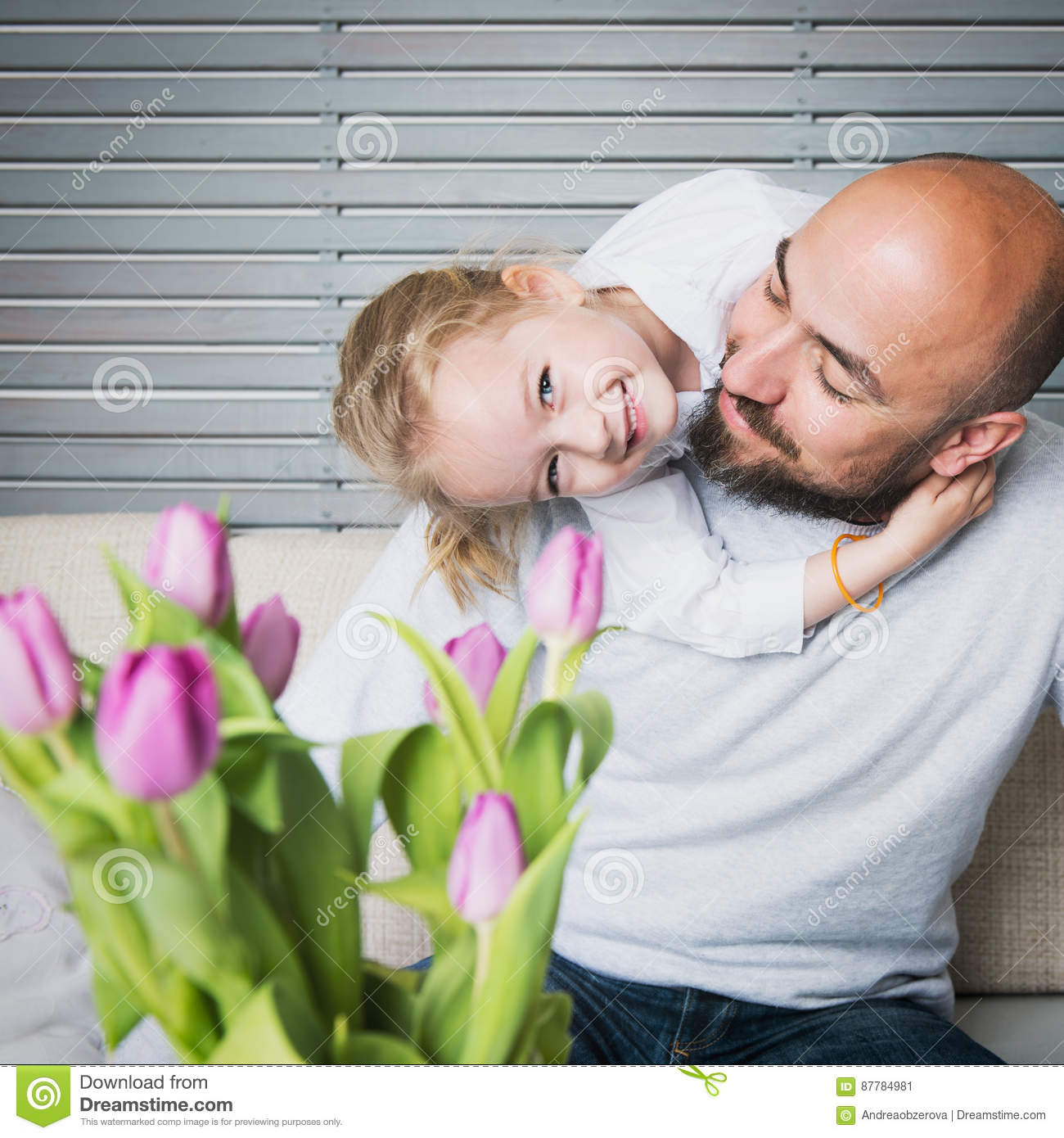 Happy family concept, father and daughter portrait