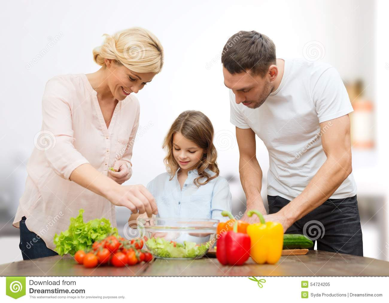 Happy family in kitchen - Background Concept Cooking Culinary Dinner Family Food Happiness Happy Kitchen