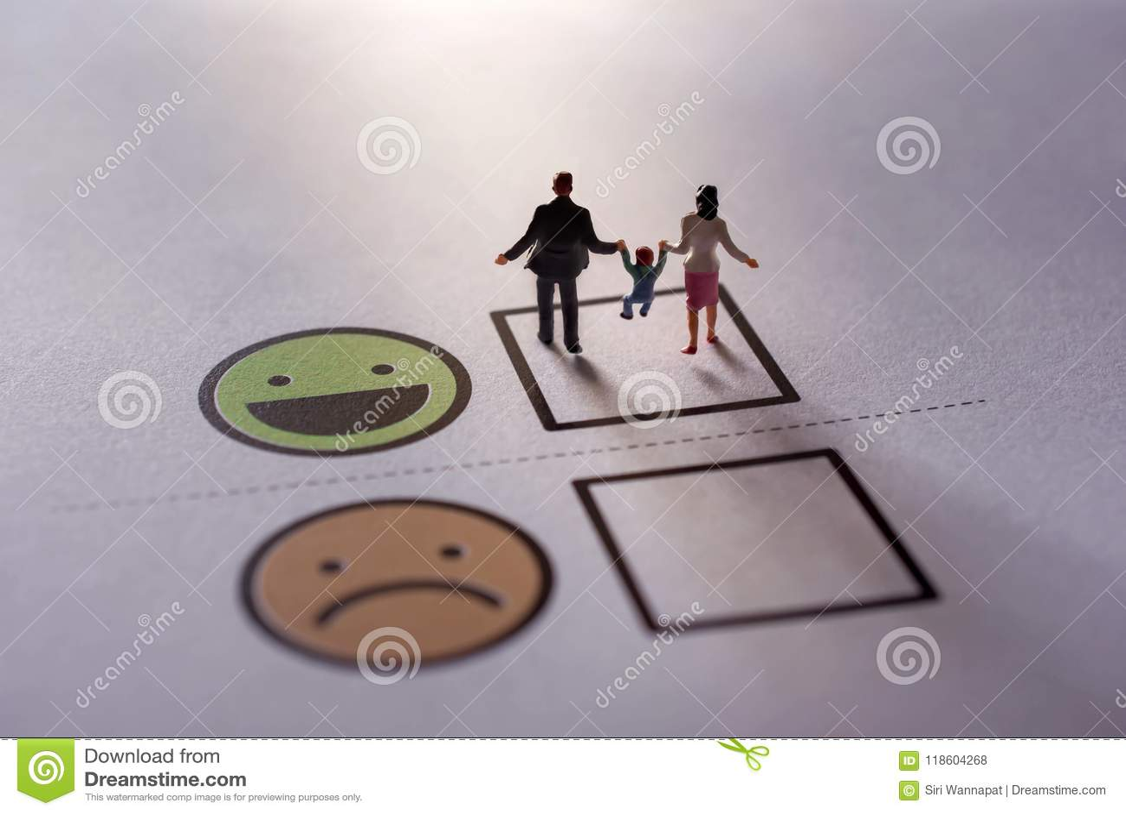 Happy Family Customer Concept. present by Miniature Figure of Fa