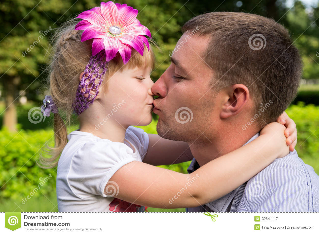 Happy Family, Dad Kissing Daughter Royalty Free Stock Photography ...