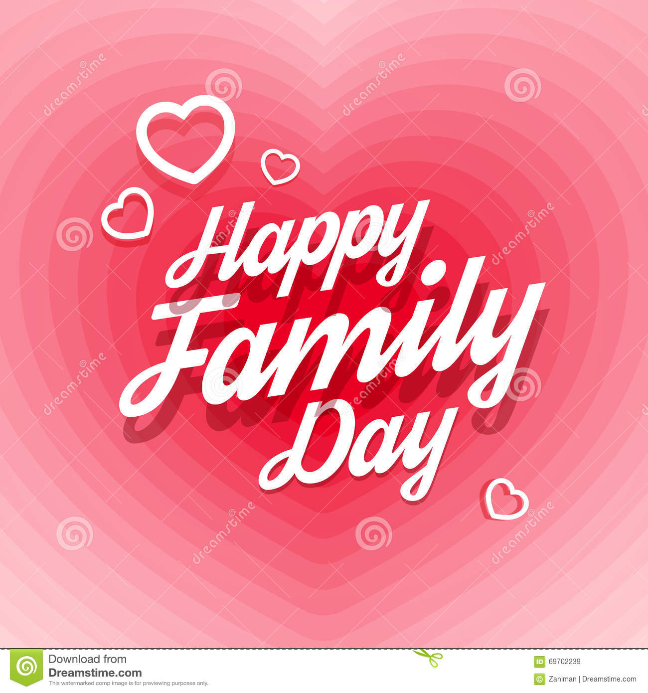 happy family day greeting card vector illustration gradient abstract effect heart shape calligraphic text 69702239