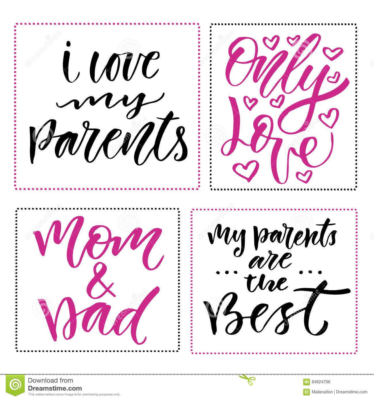 Happy Family Day Prints Set Of Hand Drawn Calligraphic Phrases