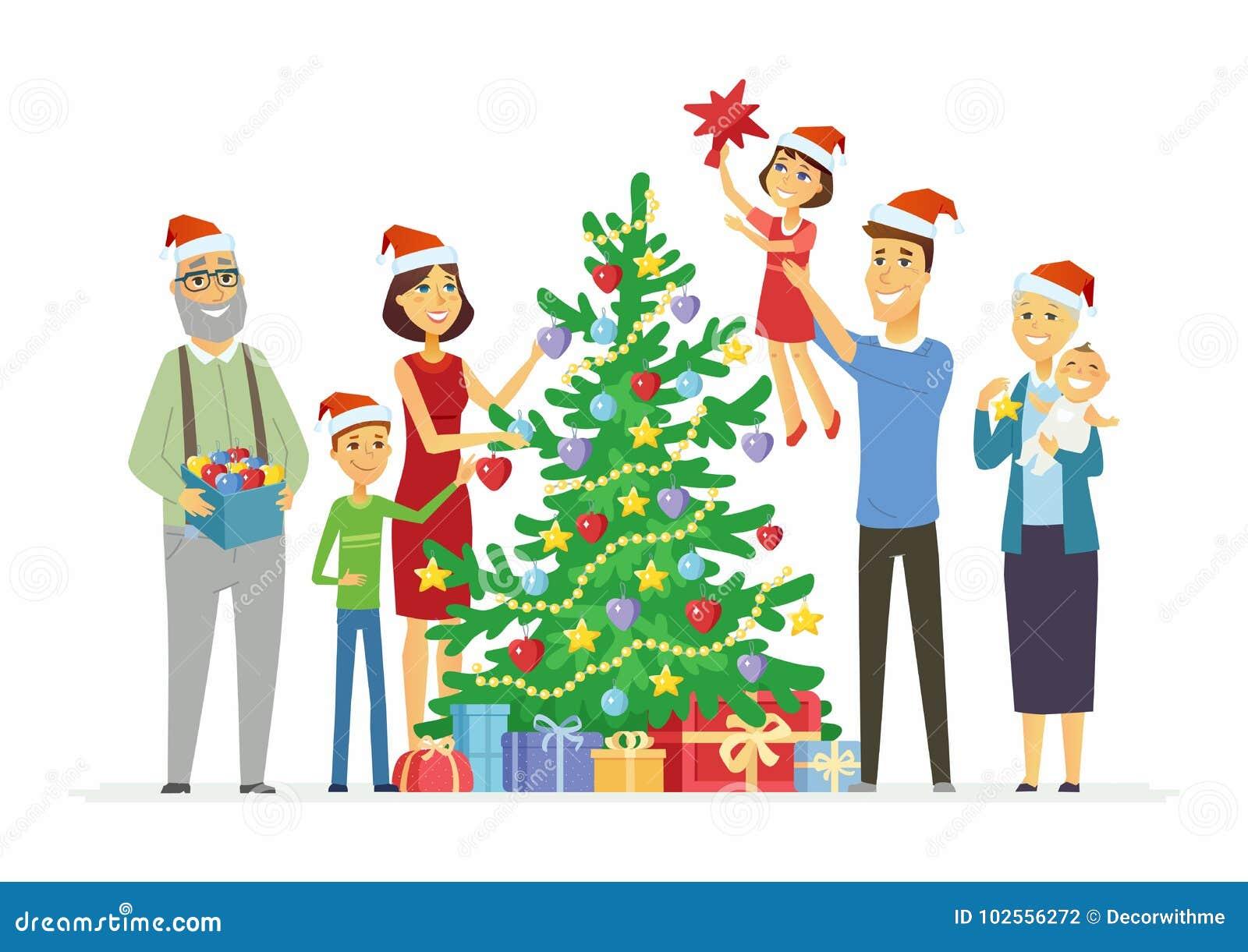 Mother Christmas Cartoon.Happy Family Decorates Christmas Tree Cartoon People