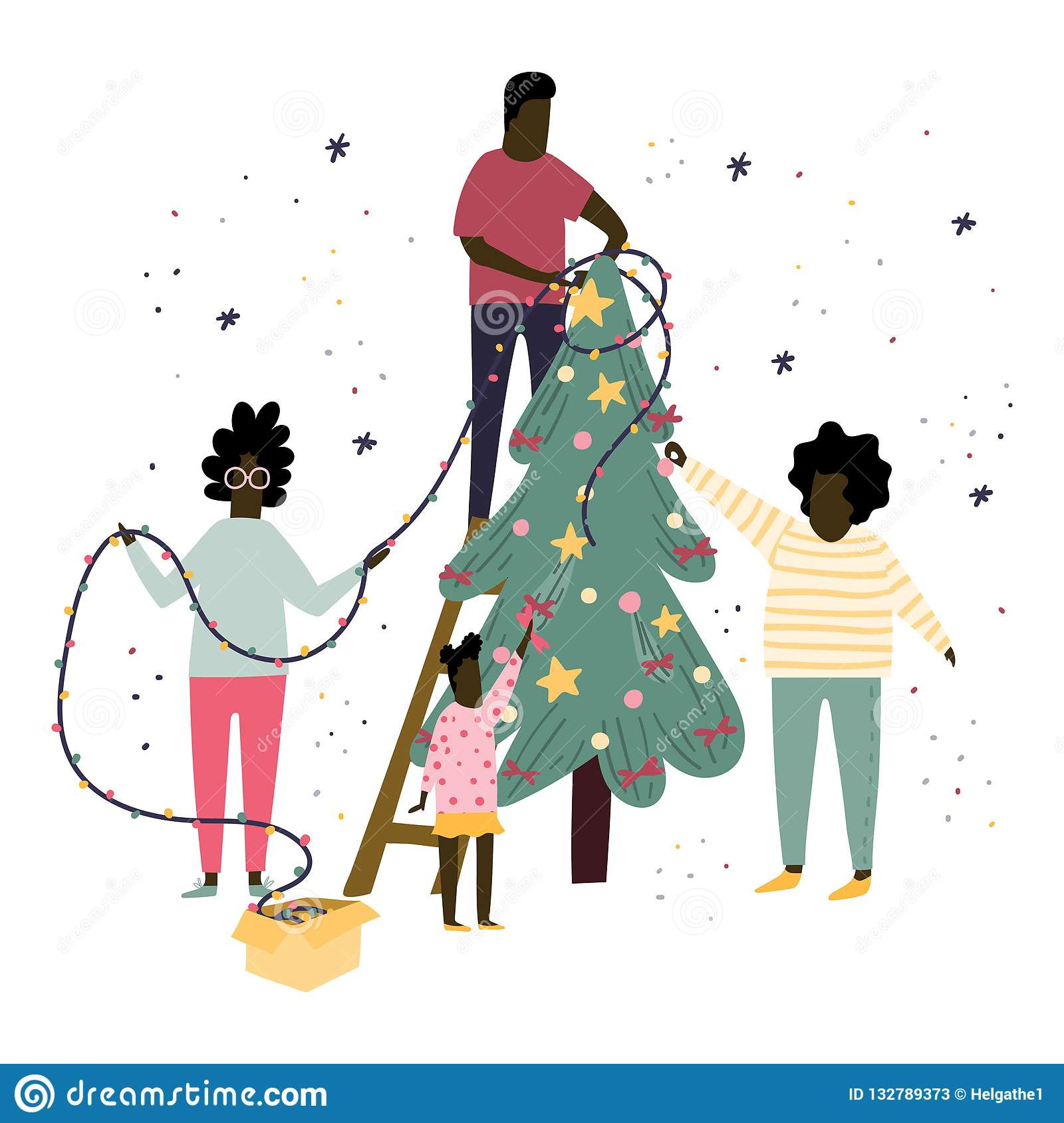 Happy Family Is Decorating A Christmas Tree Together With ...