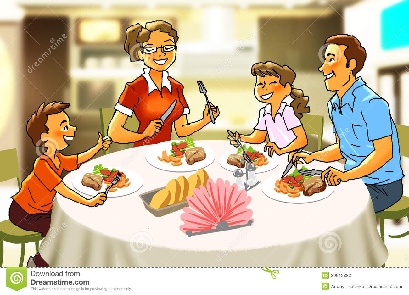 Happy Family At The Dinner Table Stock Illustration