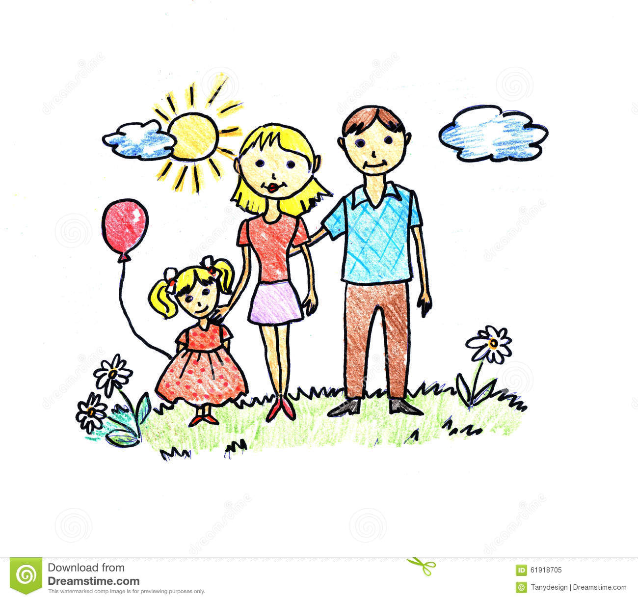 Happy Family Drawing Stock Illustration - Image: 61918705