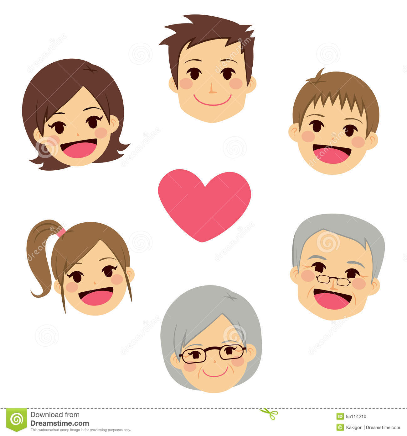 Happy Family Faces Circle Heart Stock Vector Image 55114210