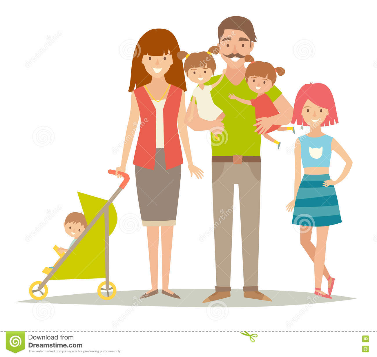 Happy Family  Family With Twins Kids  Cartoon Characters