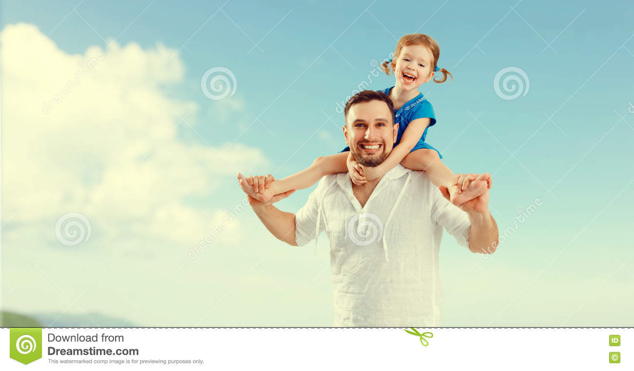 Happy family father day. father and child daughter playing and