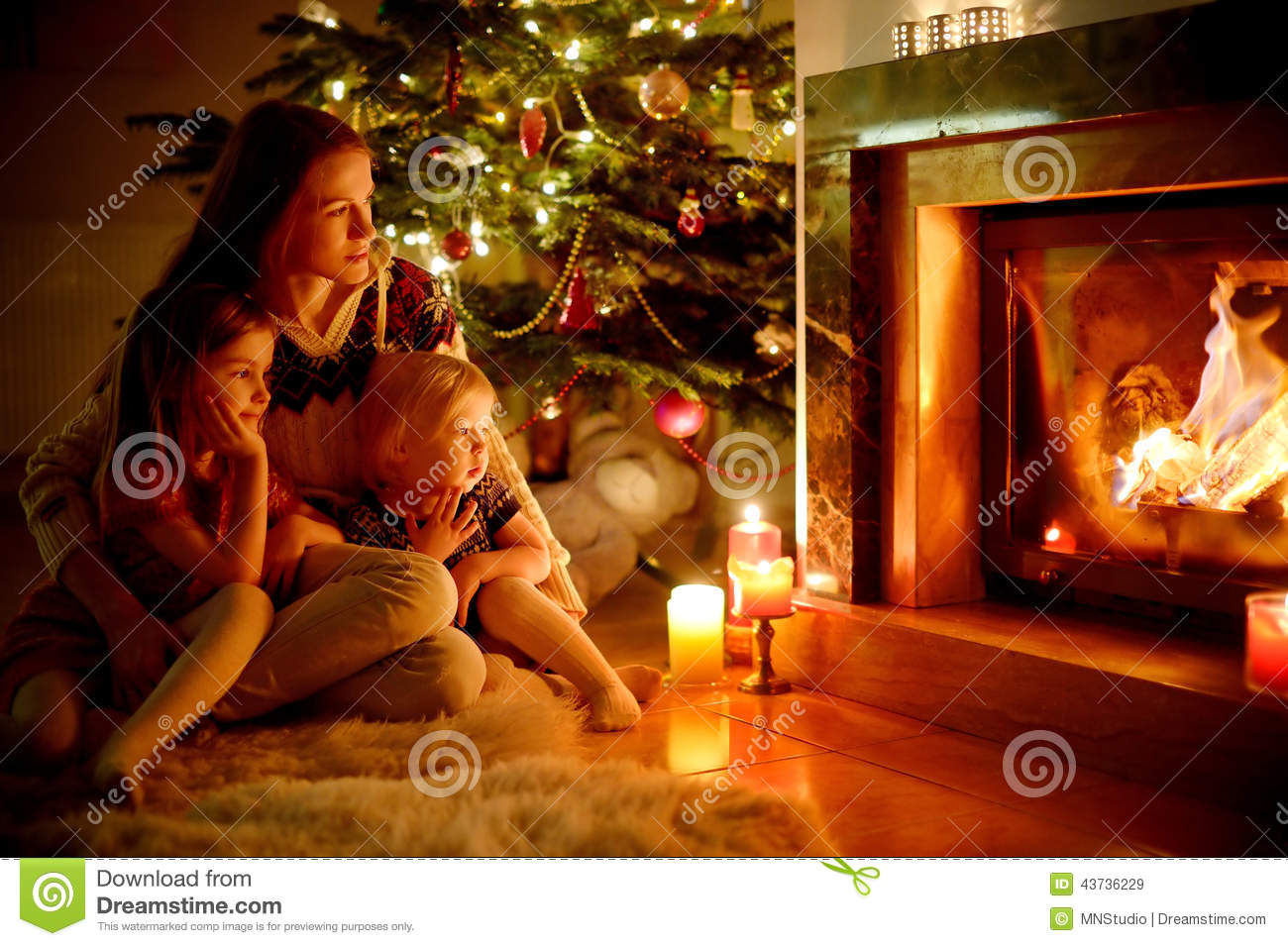 Happy Family By A Fireplace On Christmas Stock Photo Image 43736229