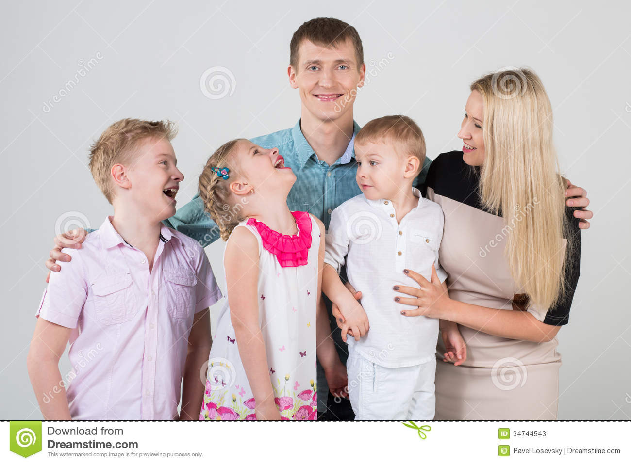 Happy family of five people