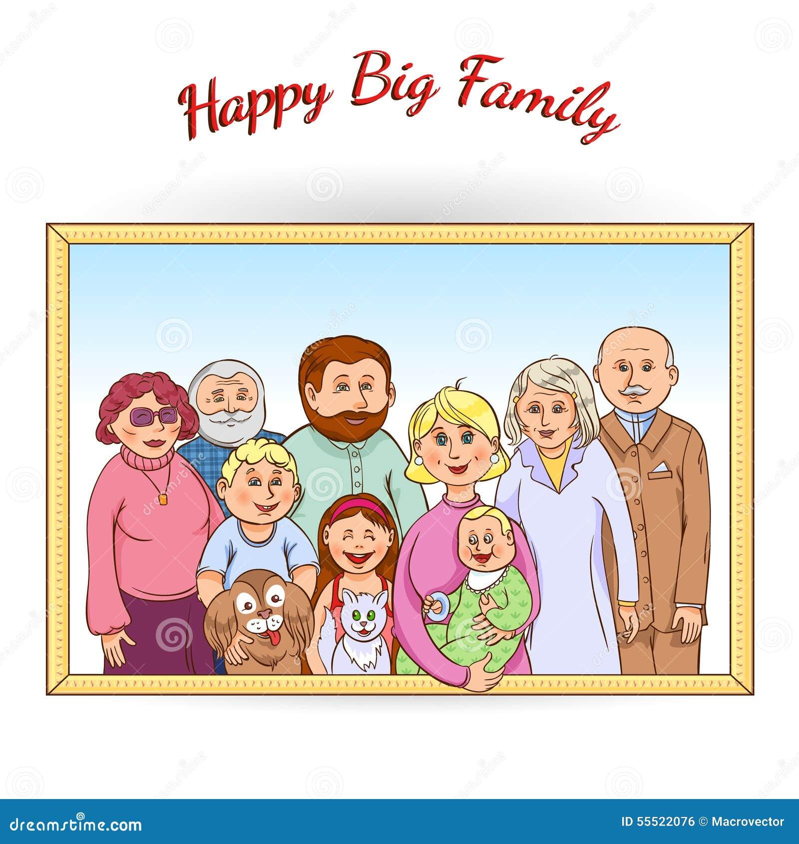 Happy Family Framed Portrait Stock Vector