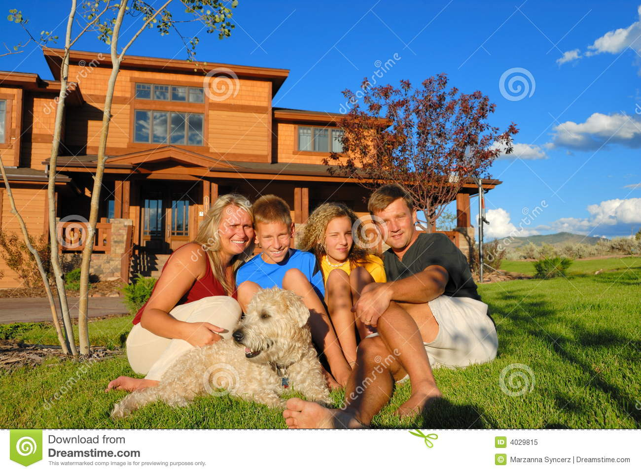 Happy Family In Front Of House Royalty Free Stock Photo Image 4029815