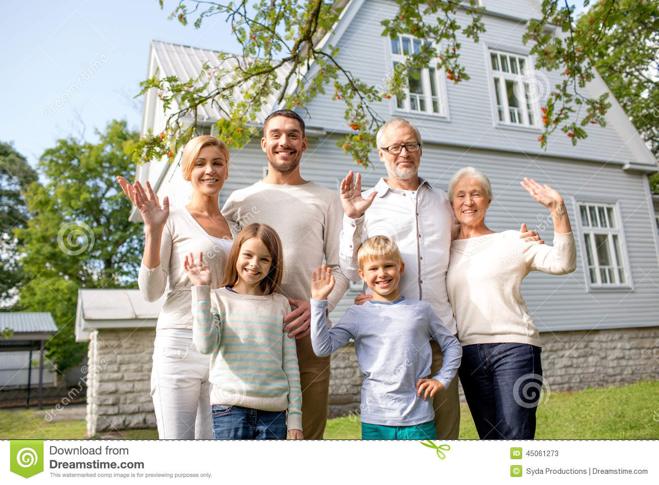 Happy family in front of house outdoors stock image for A family house