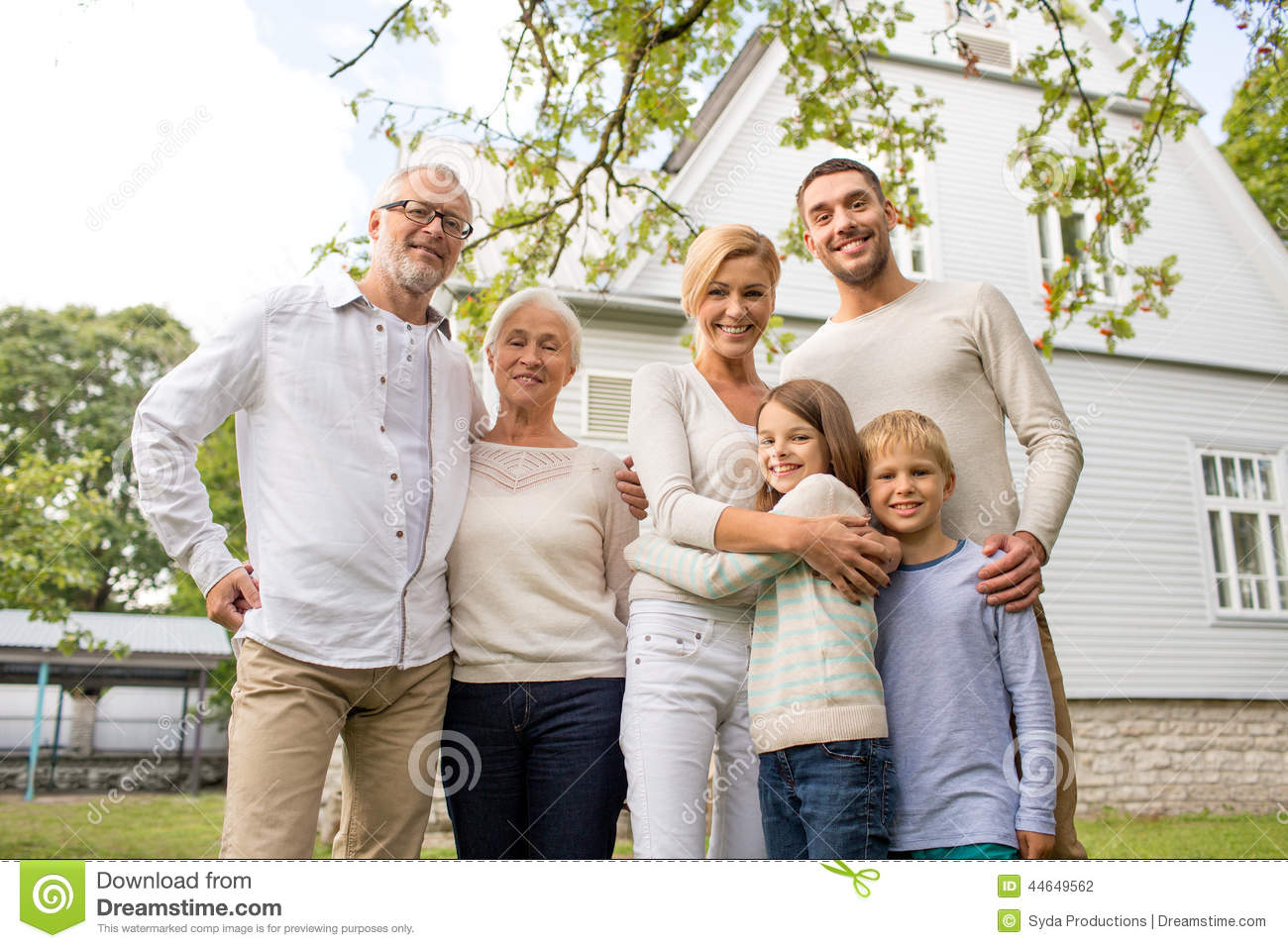 happy family in front of house outdoors stock photo image 44649562. Black Bedroom Furniture Sets. Home Design Ideas