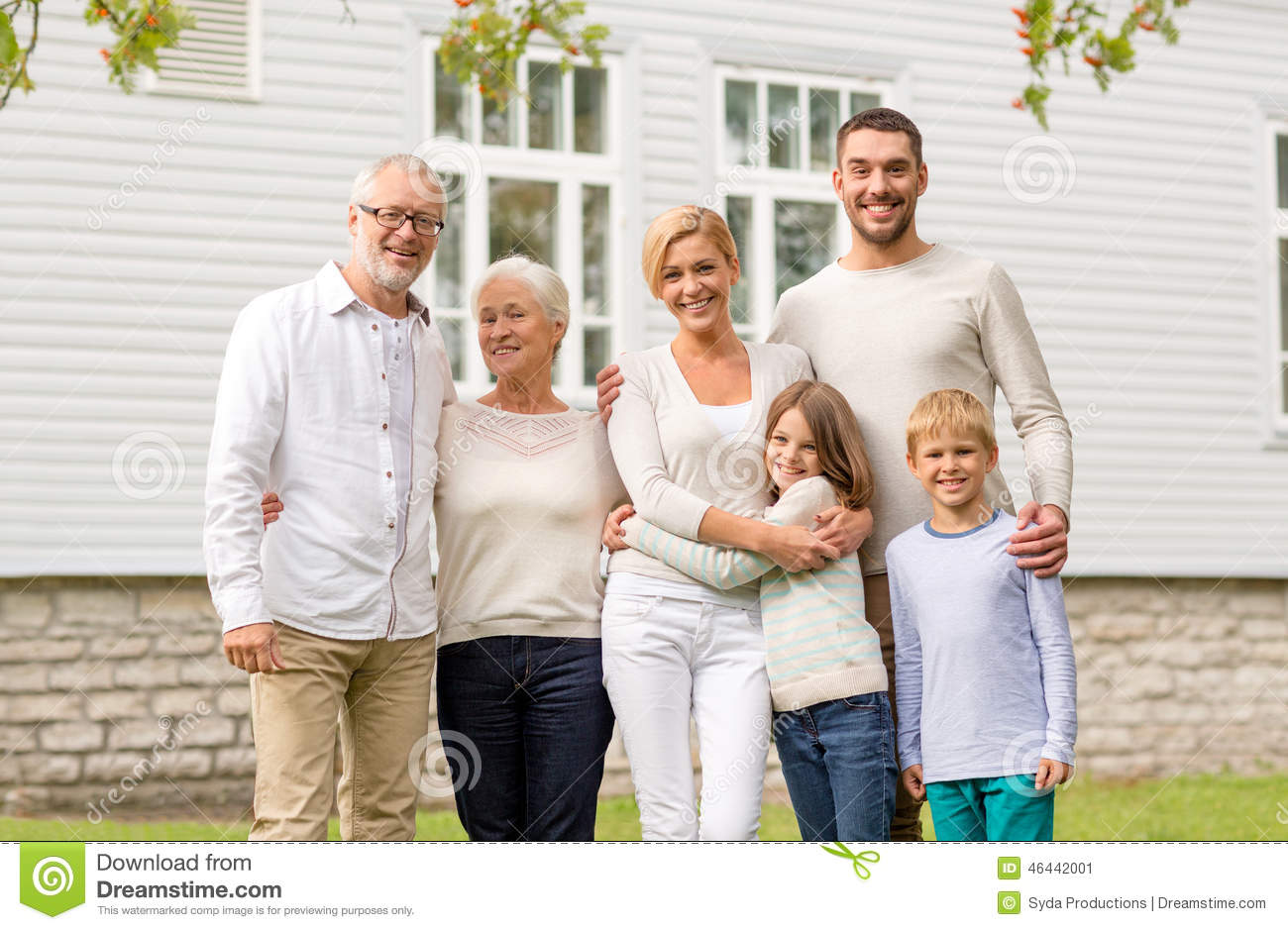 happy family in front of house outdoors stock image image of garden grandson 46442001. Black Bedroom Furniture Sets. Home Design Ideas