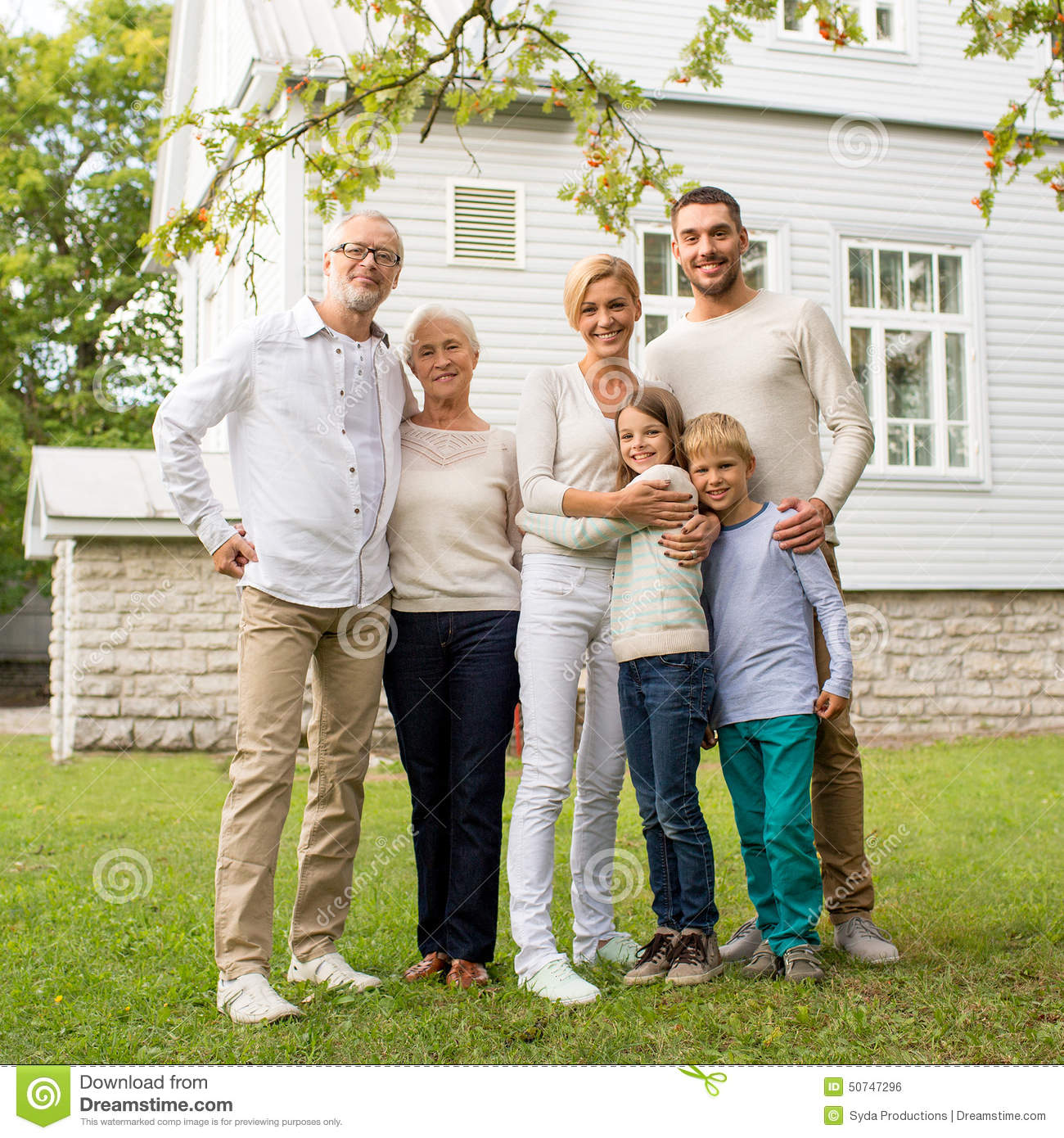 happy family in front of house outdoors stock photo image 50747296. Black Bedroom Furniture Sets. Home Design Ideas