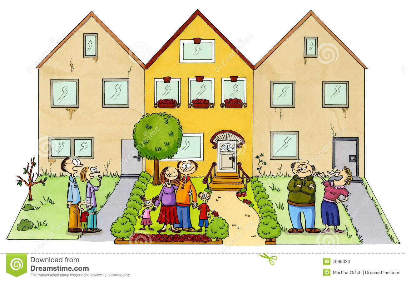 A happy family in front of their new home stock for New home images free