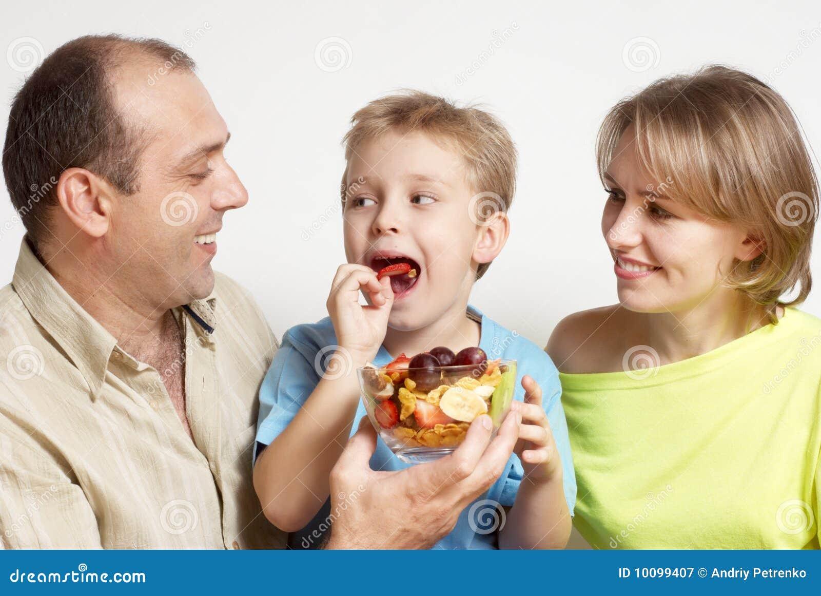 Happy Family Fruit Salad Royalty Free Stock Photography Image