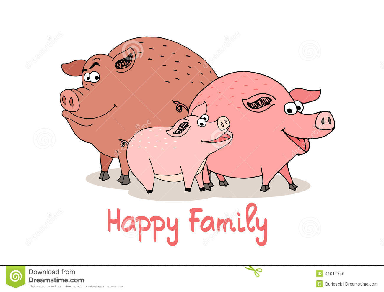 Happy Family of fun cartoon pigs with a boar sow and baby piglet with ...